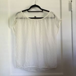 LOFT Sheer Short-Sleeve Top, Ivory, Medium